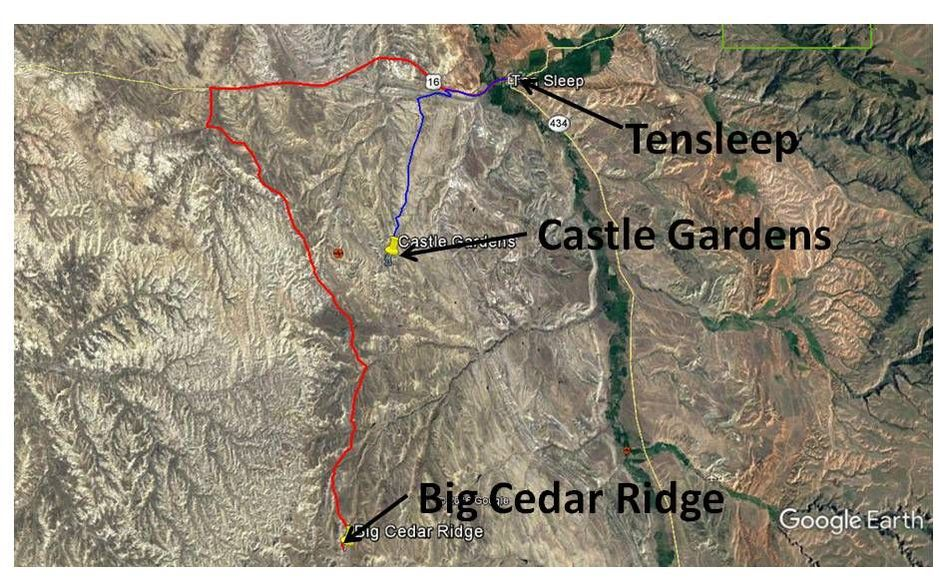Google Earth image with directions to Big Cedar Ridge and Castle Gardens