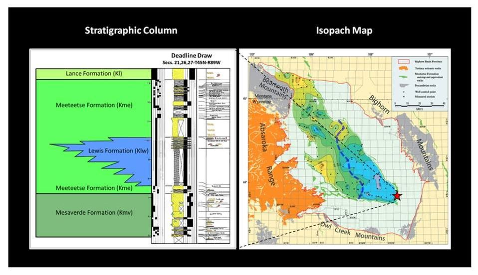Bighorn Basin Meeteetse stratigraphic column and isopach map