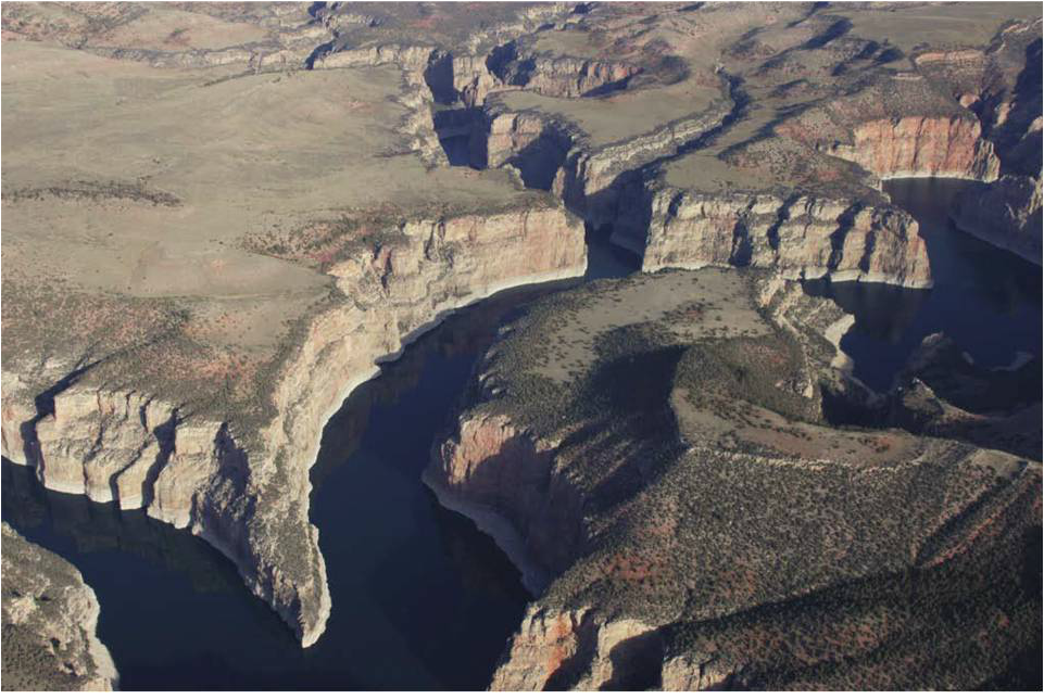 Picture entrenched river meanders, Bighorn Canyon National Recreation Area