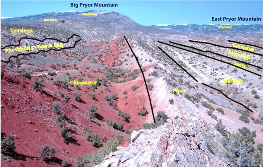 Picture Vermillion Valley with labeled geology, west of Bighorn Canyon National Recreation Area