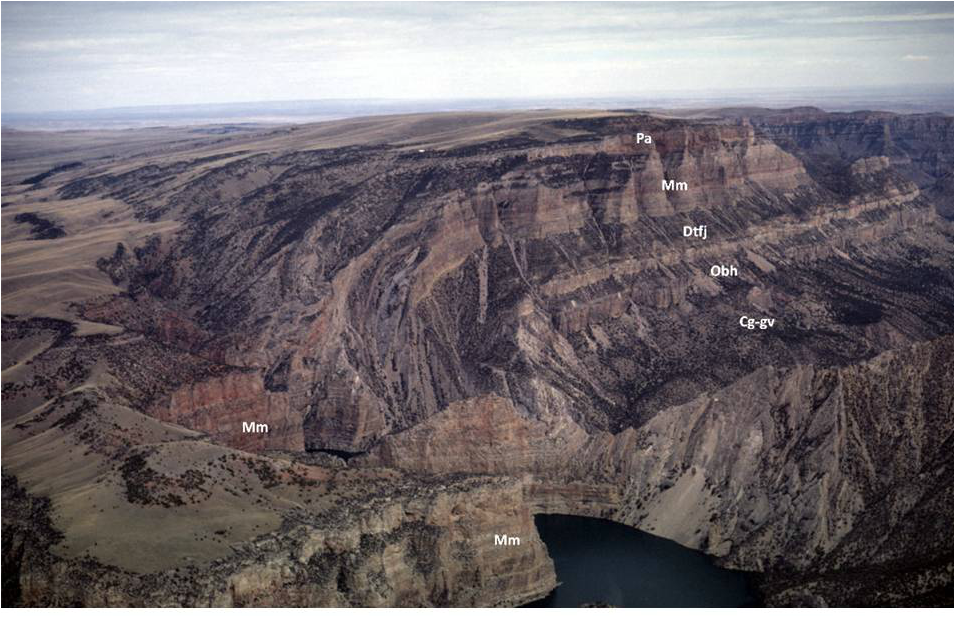 Picture Monocline with labeled geology, Bighorn Canyon National Recreation Area