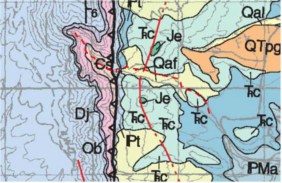 Geologic map Layout Creek Trail, Bighorn Canyon National Recreation Area