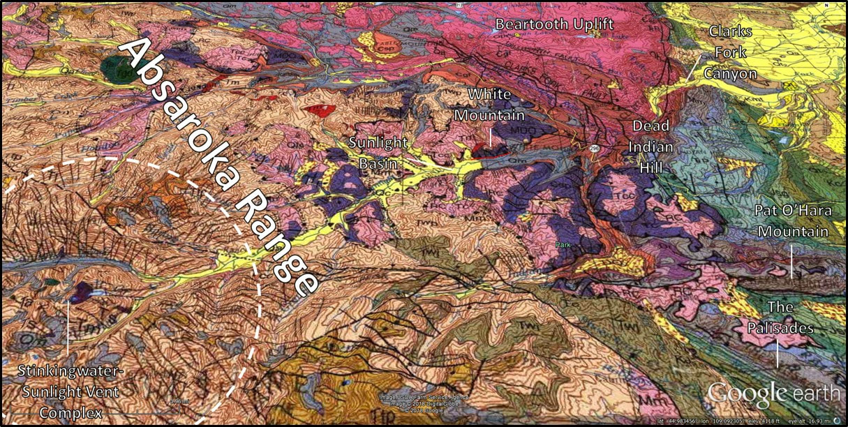 Geologic map of White Mountain area, Park County, Wyoming