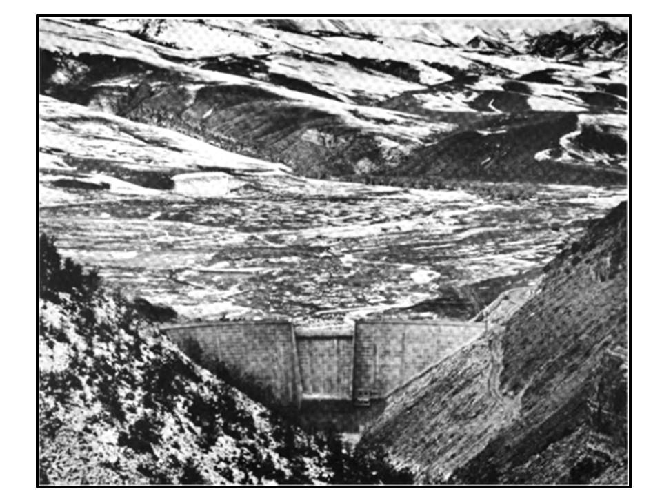Picture Anchor Dam before filling reservoir, 1960, Hot Springs County, Wyoming