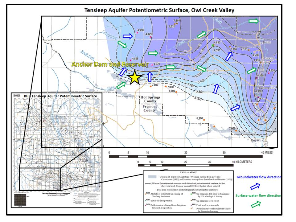 Potentiometric map for Tensleep Sandstone aquifer, Owl Creek Valley and Bighorn Basin, Wyoming
