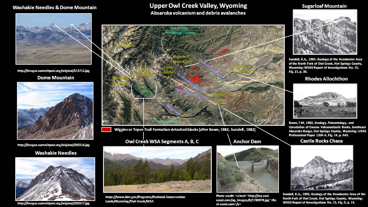 Pictures and map Owl Creek Valley volcanics, Hot Springs County, Wyoming