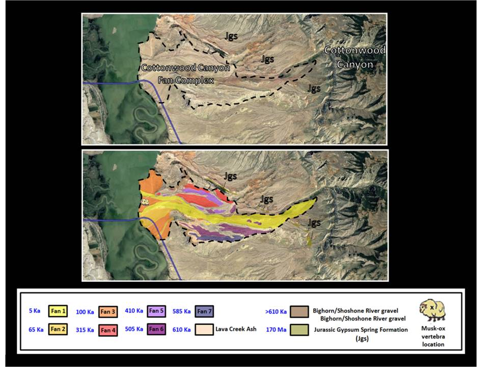 Geology map and picture Cottonwood Creek alluvial fan, Big Horn County, Wyoming