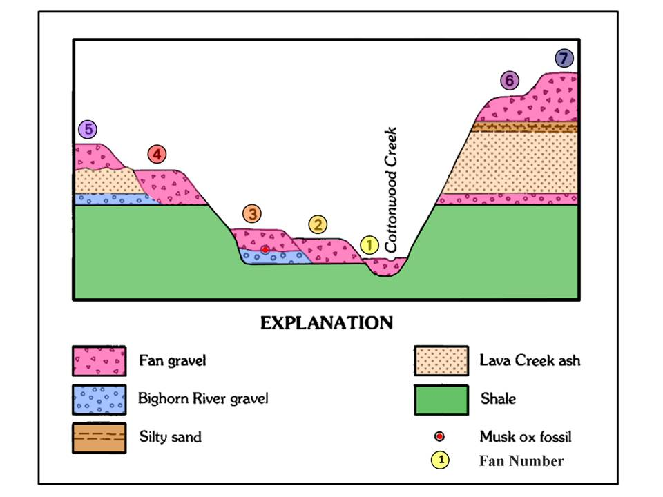 Geologic cross section of surficial deposits, Cottonwood Creek area, Big Horn County, Wyoming