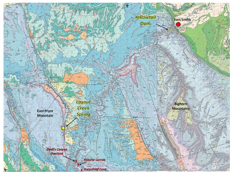 Geologic map of Montana portion Bighorn Canyon National Recreation Area