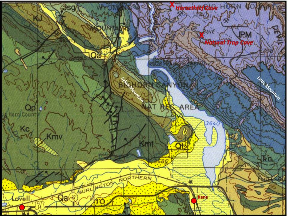 Geologic map of Wyoming portion Bighorn Canyon National Recreation Area