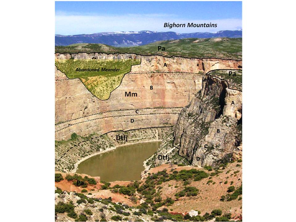 Picture Bighorn Canyon with labeled geology, Bighorn Canyon National Recreation Area