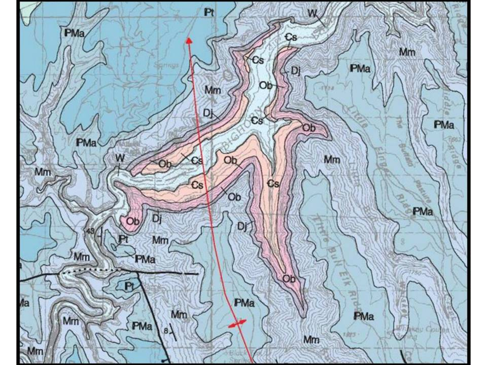 Geologic map Bighorn Canyon showing anticline, Bighorn Canyon National Recreation Area