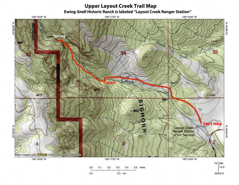 Topographic map Layout Creek Trail, Bighorn Canyon National Recreation Area