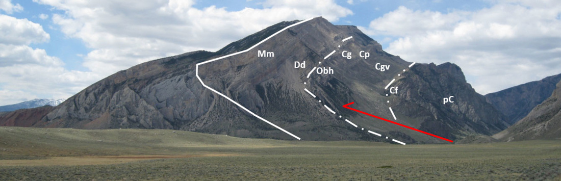 Picture Canyon Mouth anticline, Clarks Fork Canyon, annotated geology, Park County, Wyoming