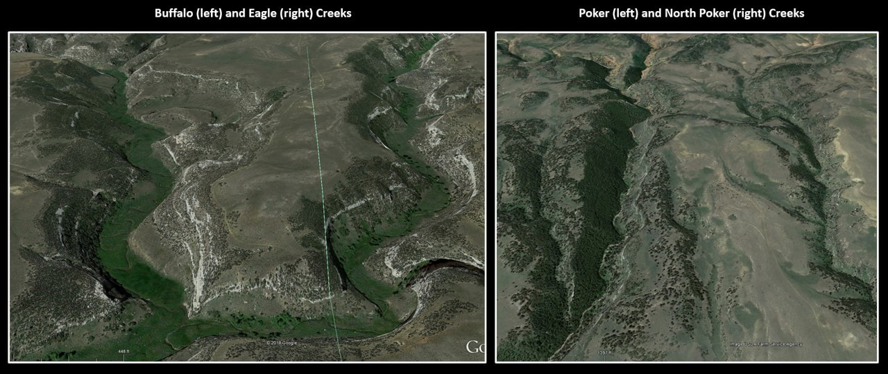 Google Earth pictures of Buffalo Creek, Eagle Creek, Poker Creek, & North Poker Creek, Wyoming
