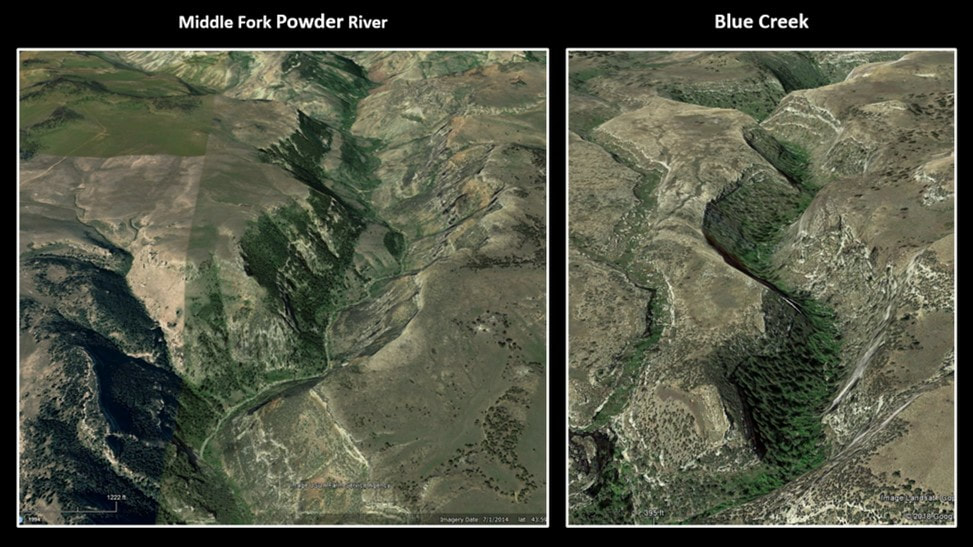 Google Earth pictures of Middle Fork Powder River and Blue Creek, Johnson County, Wyoming