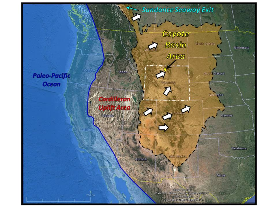 Paleogeography map of Morrison deposition western US