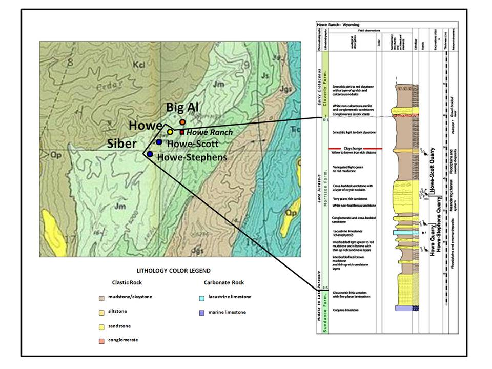 Geologic map and stratigraphic column of Howe Ranch area quarries, Big Horn County, Wyoming