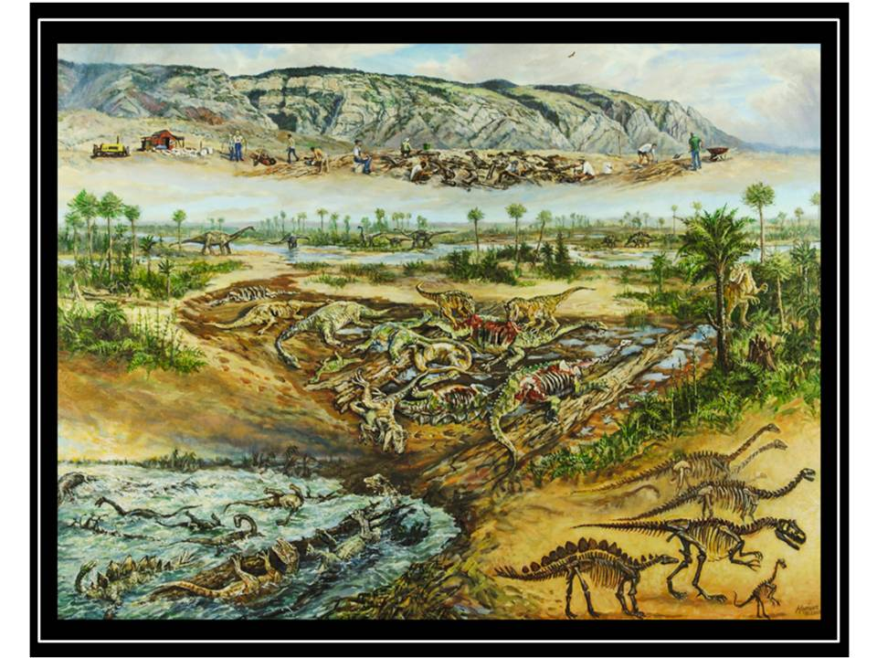 Painting of Howe Ranch dinosaur quarry, once upon a time and now by Mike Kopriva