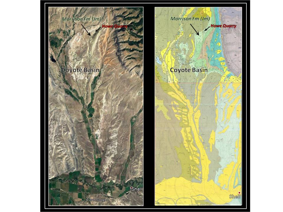 Geologic map and Google Earth image of Shell area dinosaur bone beds, Big Horn County, Wyoming