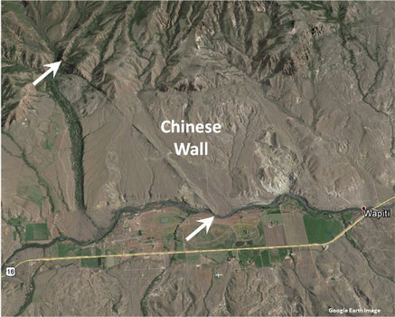 Google Earth image Chinese Wall, Park County, Wyoming