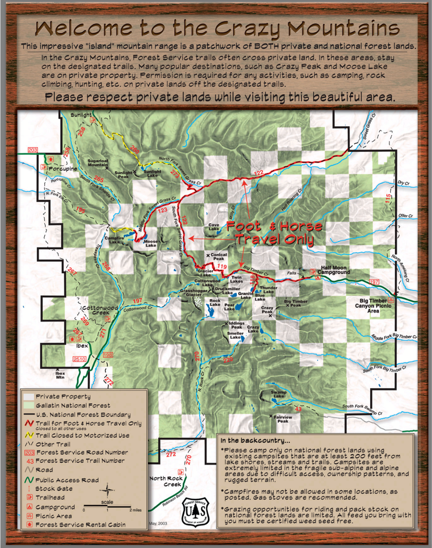 Trail and public land map for southern Crazy Mountains, Montana