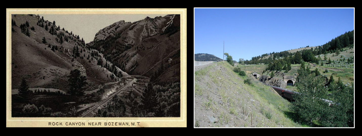 Pictures of Northern Pacific Railroad tracks entering Bozeman Pass 1884 and Bozeman Pass tunnel entrance, Montana