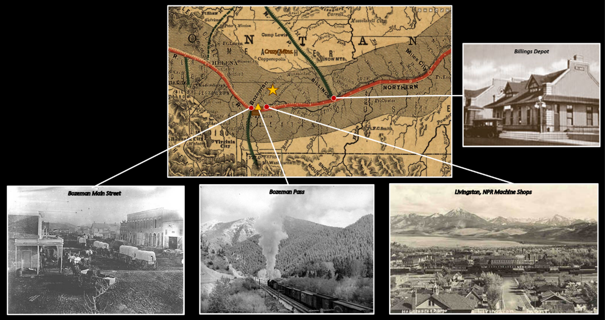 Map of Northern Pacific Railroad in Montana 1882 and pictures.