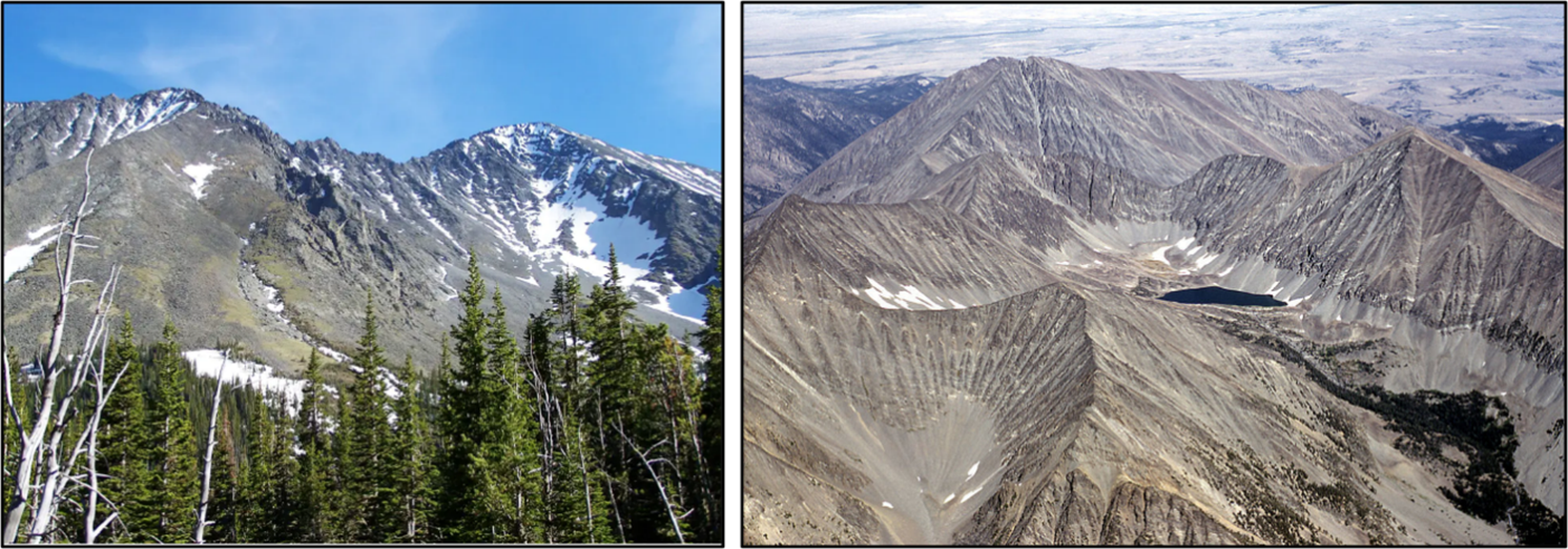 Pictures of Crazy Peak, Big Timber Peak, Cottonwood Lake and Grasshopper Glacier in the Crazy Mountains, Montana