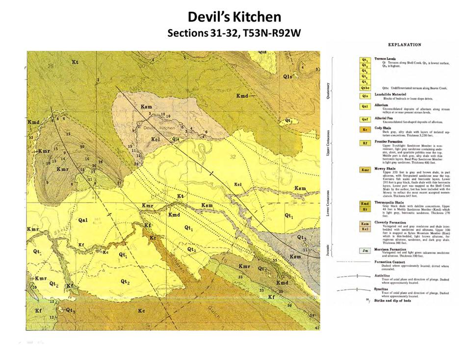 Geologic map Devil's Kitchen, Big Horn County, Wyoming