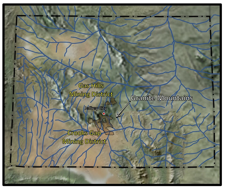 Paleogeography and paleodrainage map of Early Eocene in Wyoming