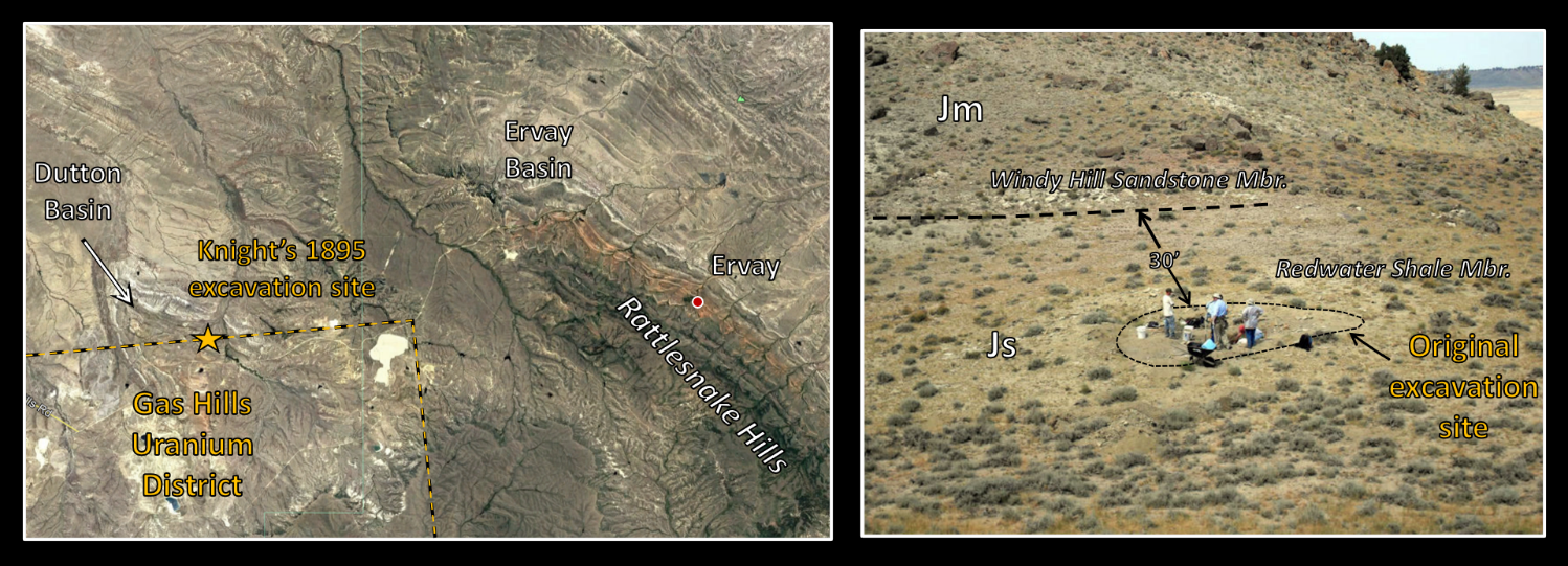 Map and picture of Megalneusaurus rex excavation site, Wind River Basin, Wyoming