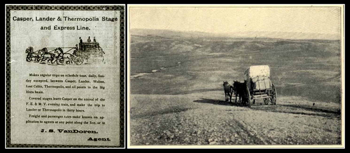1899 advertisement for stage service Casper, Lander and Thermopolis & picture Casper to Lander Stage, Wyoming
