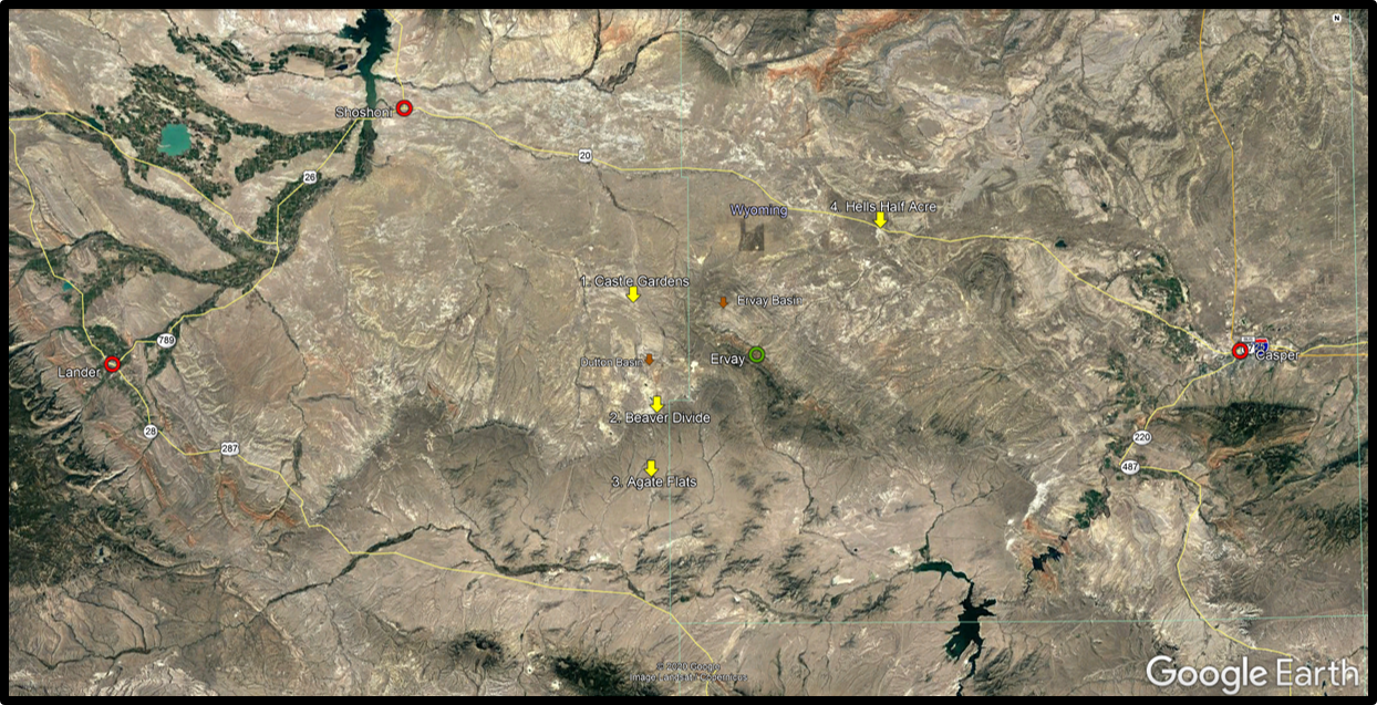 Google Earth image of Wind River Basin showing attractions, Wyoming