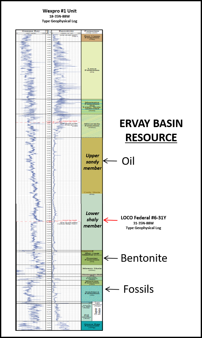 Type well log of Ervay Basin, Wyoming