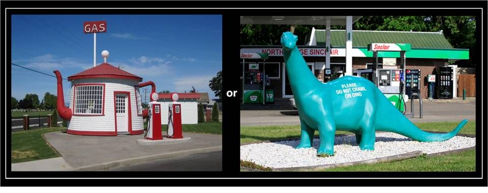 Picture gas station with  Brontosaur