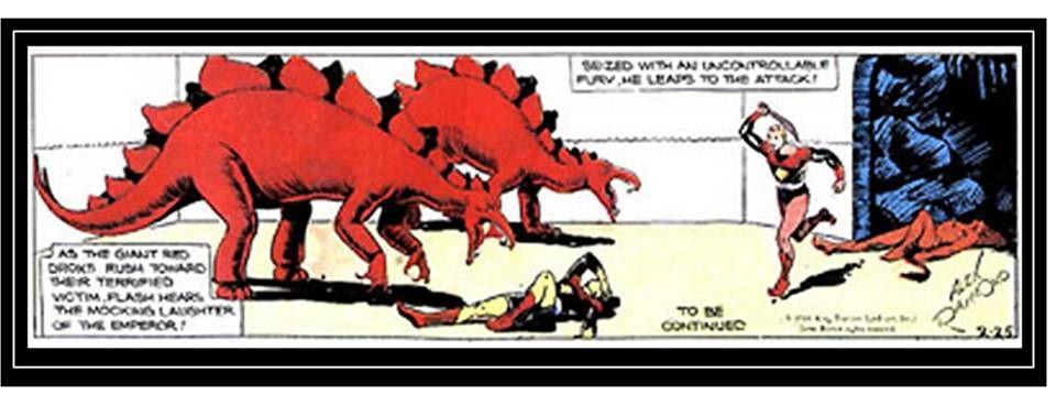 Comic strip hero Flash Gordon battling dinosaurs, 1934