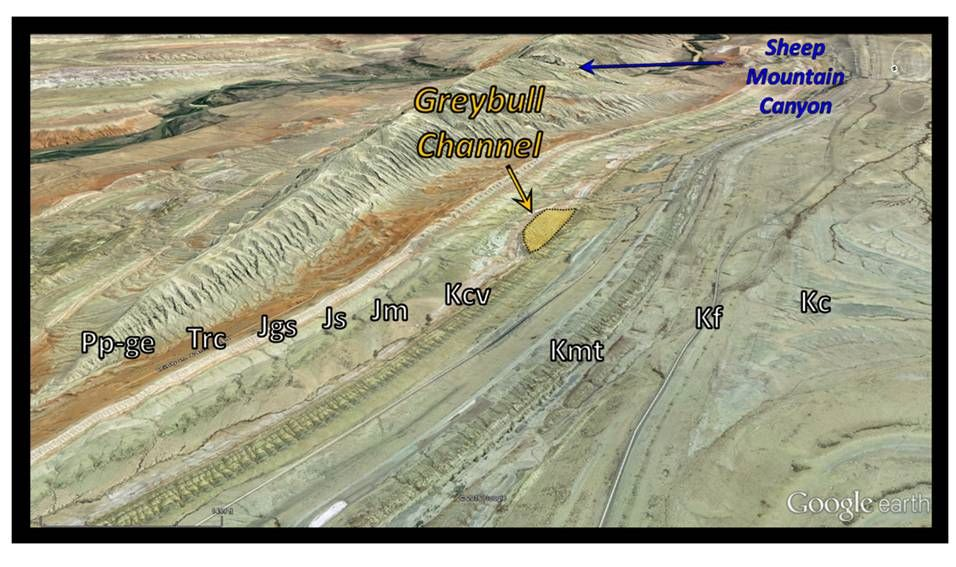 Google Earth image Cretaceous Greybull Sandstone Channel Sheep Mountain Wyoming