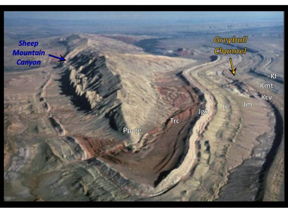 Google Earth image Sheep Mountain Anticline, Wyoming