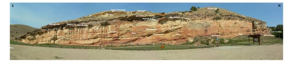 Picture Tensleep Sandstone Medicine Lodge Archeological site, geology annotated, Big Horn County, Wyoming
