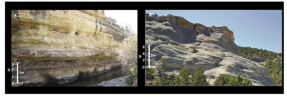 Pictures Tensleep Sandstone, marine and dune depositional environment, Medicine Lodge, Big Horn County, Wyoming
