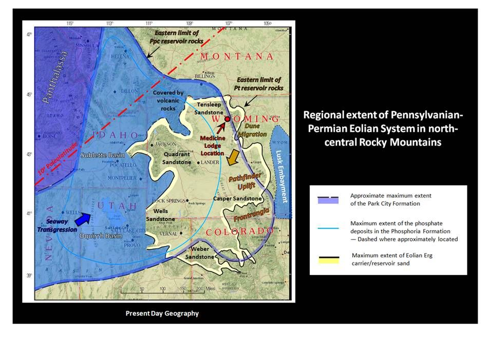 Map Pennsylvanian-Permian paleogeography Rocky Mountains