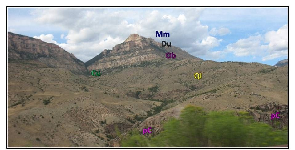 Picture Pyramid Peak with geology labeled, Big Horn Mountains, Wyoming