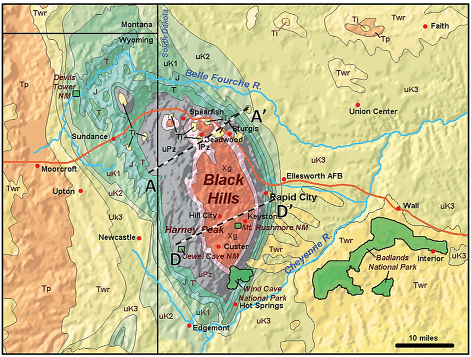 Geologic map of Black Hills