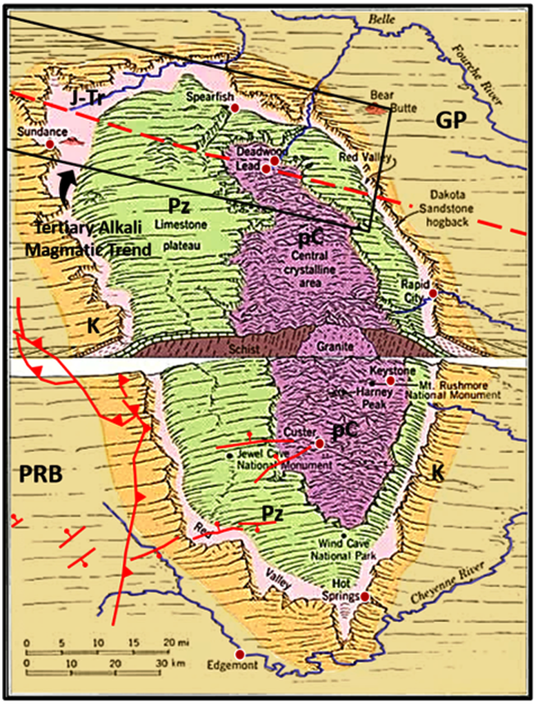 Geologic map of Black Hills with topography