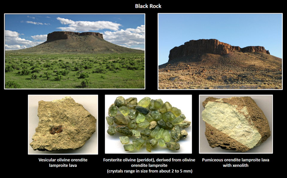 Pictures of Black Rock and lamproite rocks in Leucite Hills, Wyoming