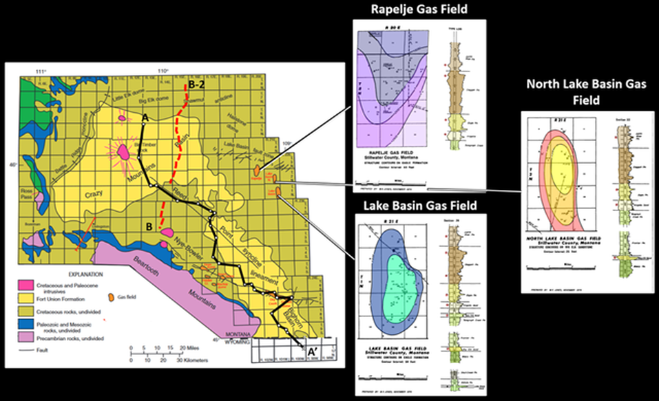 General geology map of Crazy Mountains Basin, Montana