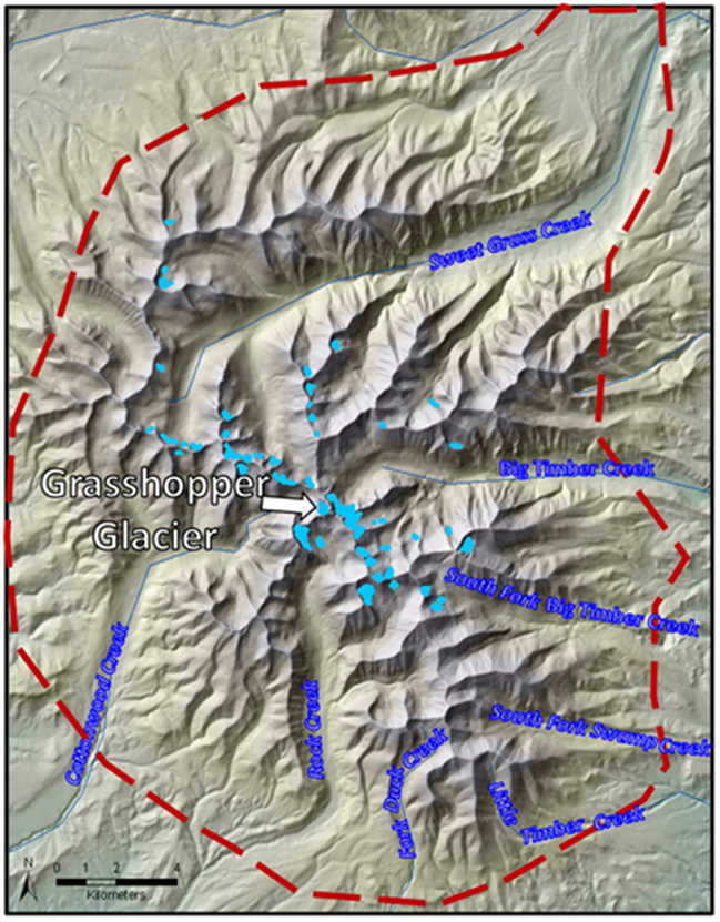 Map of remaining glaciers in the Crazy Mountains, Montana