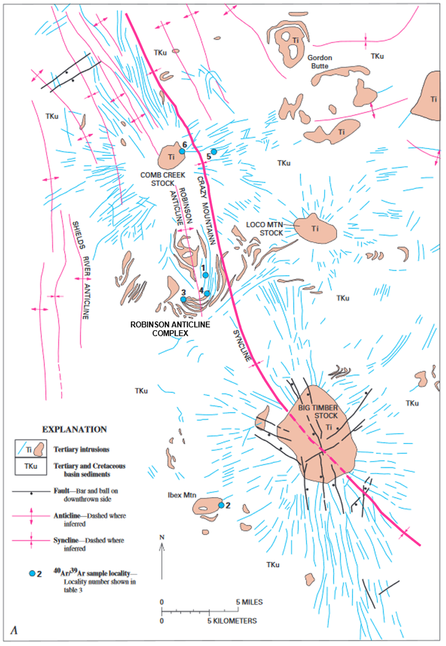 Geology map of southern Crazy Mountains Basin intrusive complex and dikes, Montana