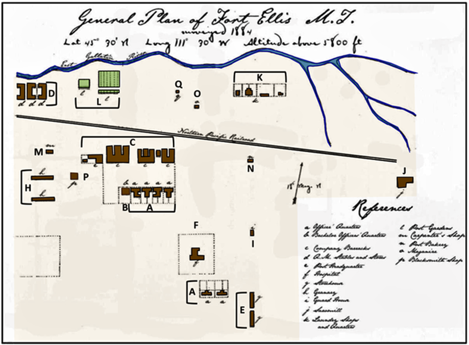 Hand drawn map of Fort Ellis, 1884, Montana